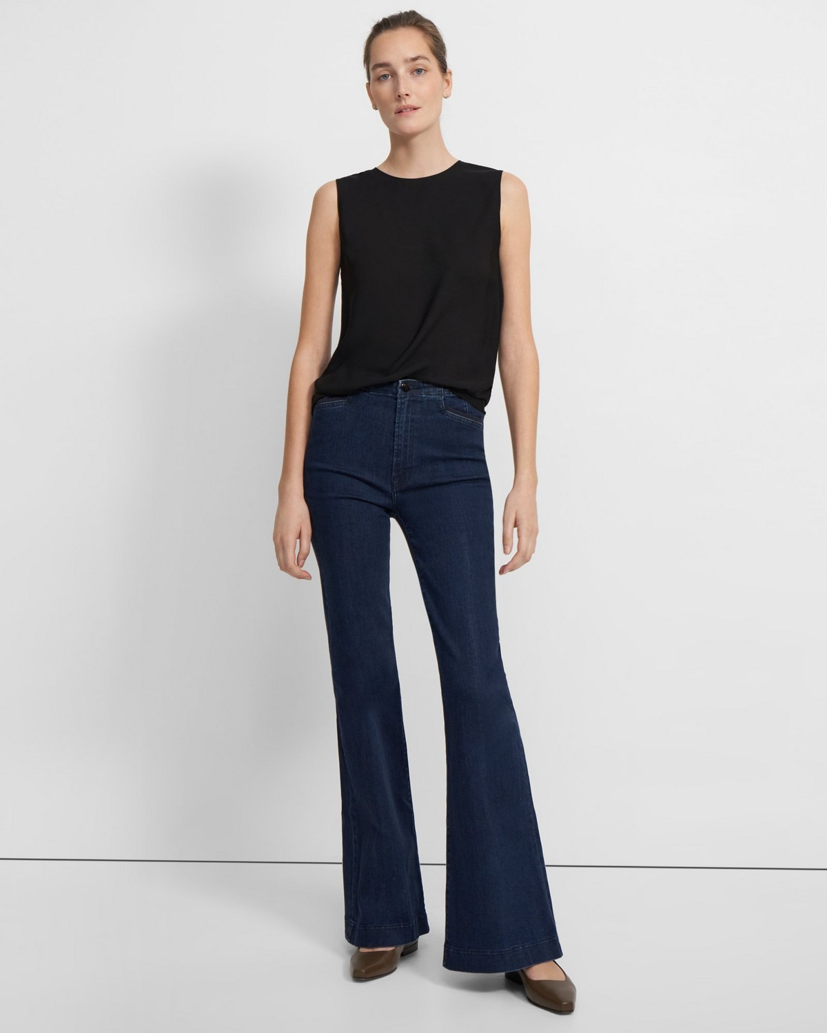 J Brand Darted High-Rise Flared Trouser in Stretch Denim