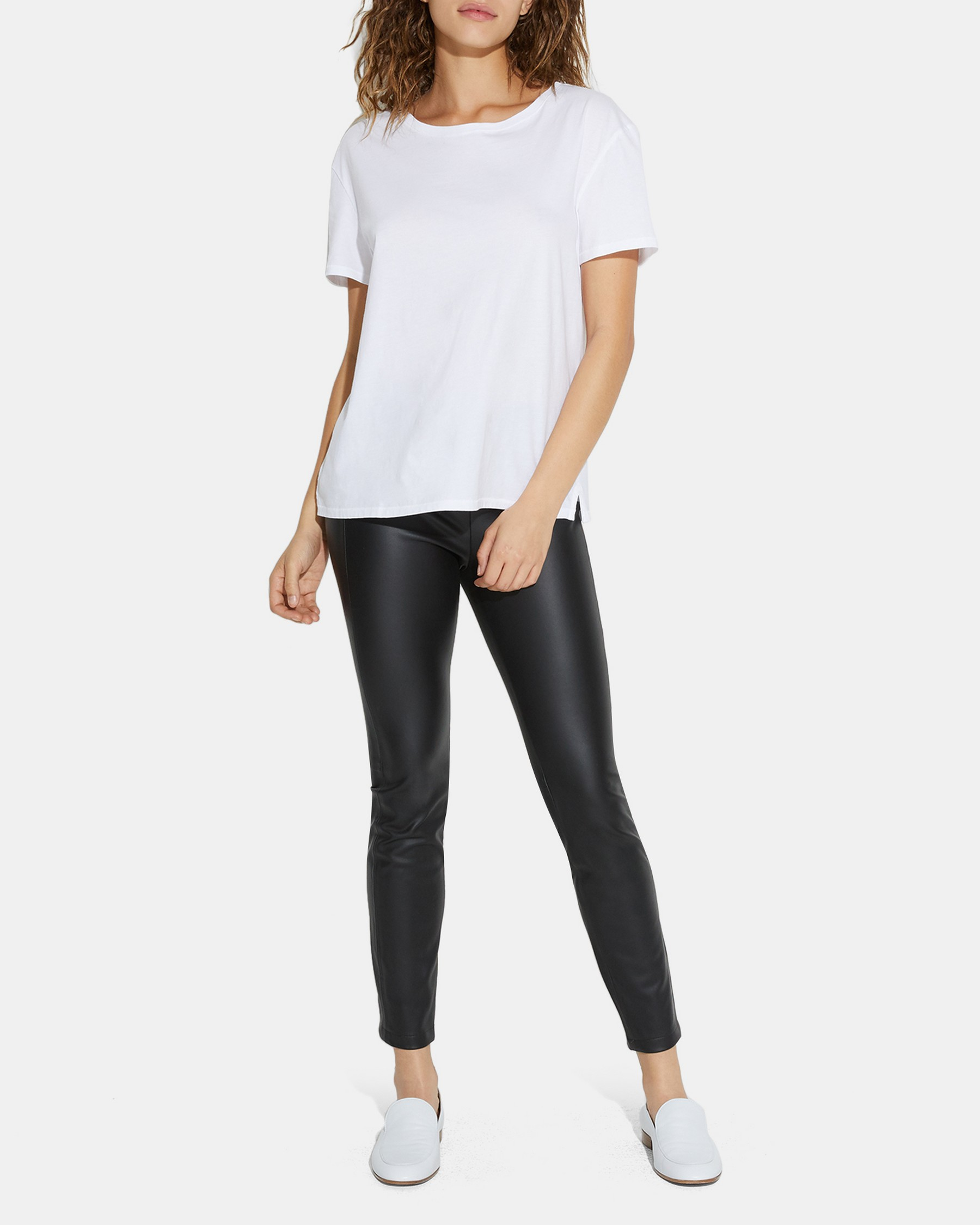 Irving Faux Leather Back Zip Legging   Theory