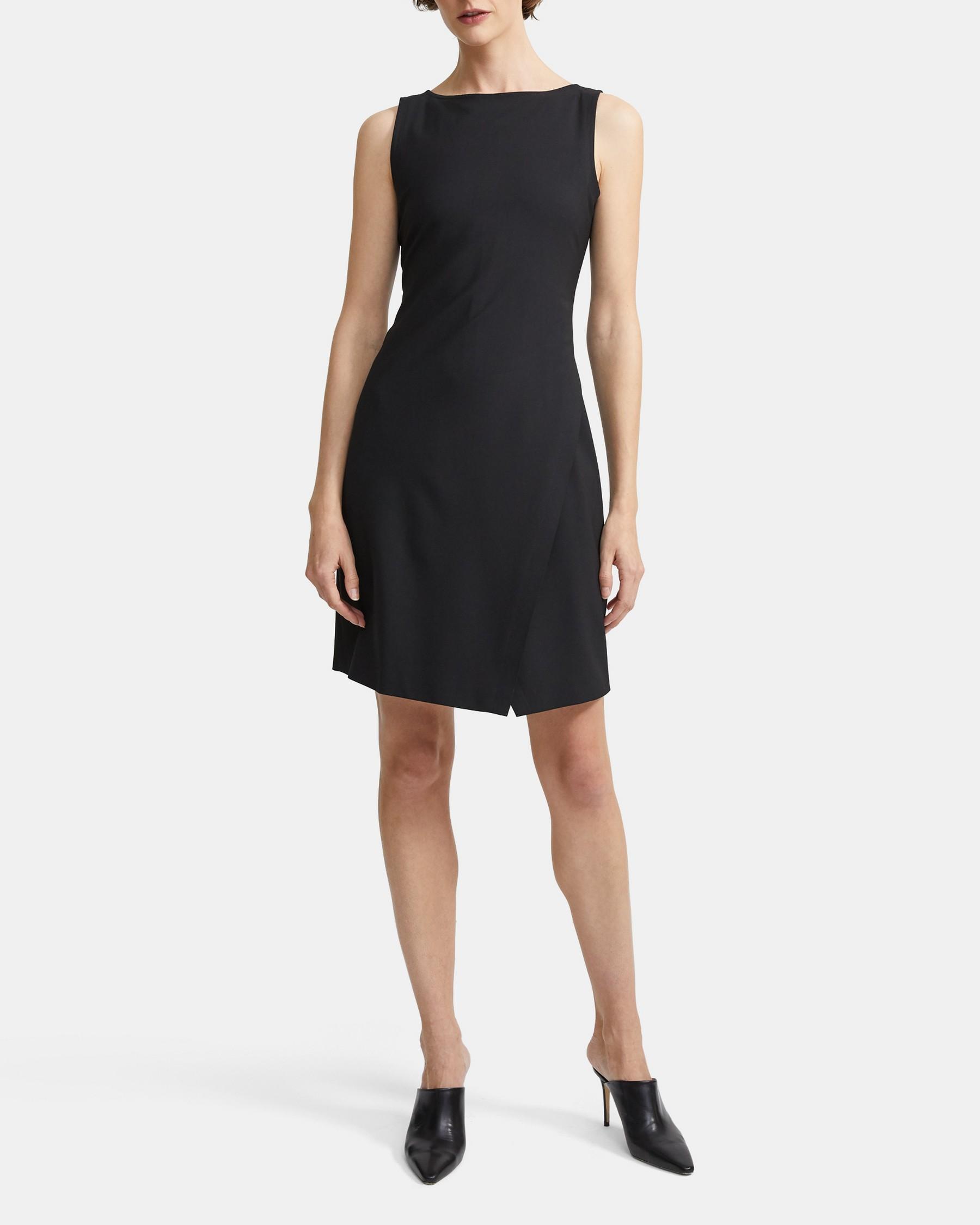 Wrap-Effect Shift Dress in Good Wool   Theory