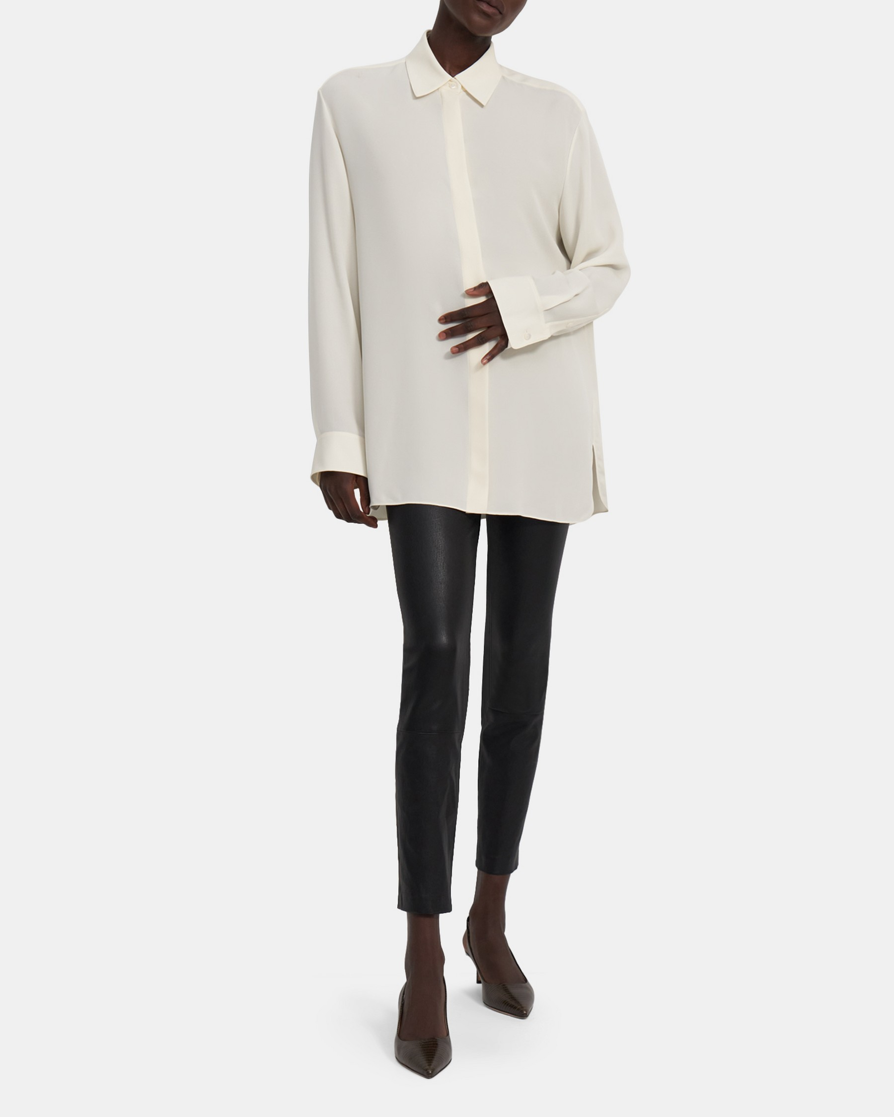 Menswear Shirt in Silk Georgette   Theory