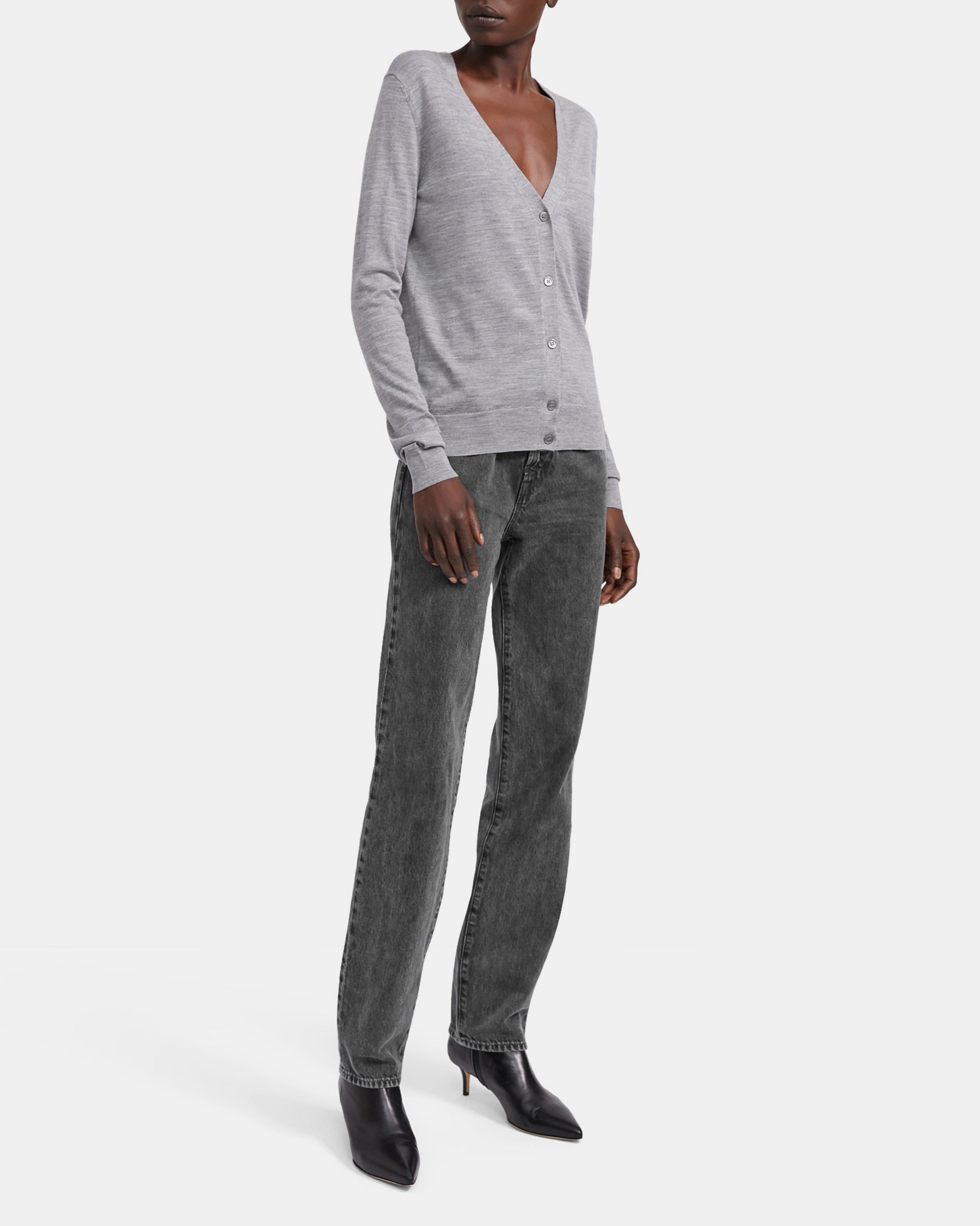 V-Neck Cardigan in Regal Wool   Theory