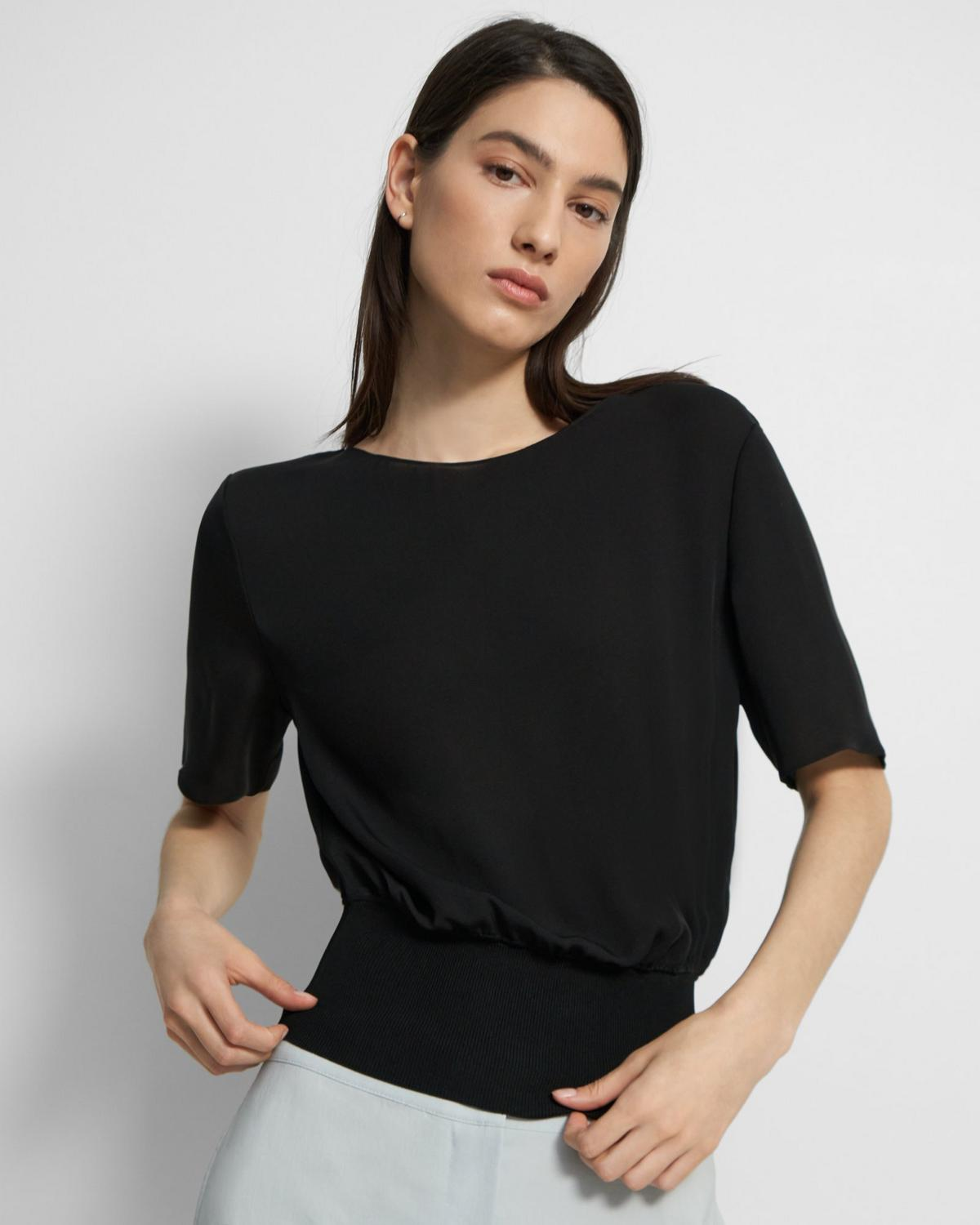 Short-Sleeve Ribbed-Waist Top in Silk
