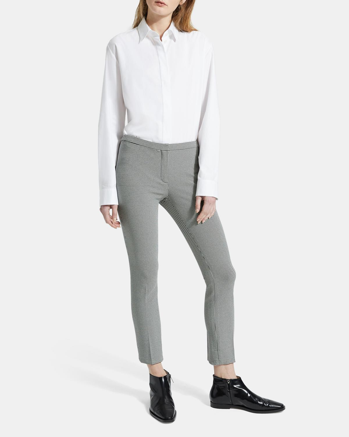 Theory Womens Black-Ivory Houndstooth Classic Fit Skinny Pants 12 BHFO 2508