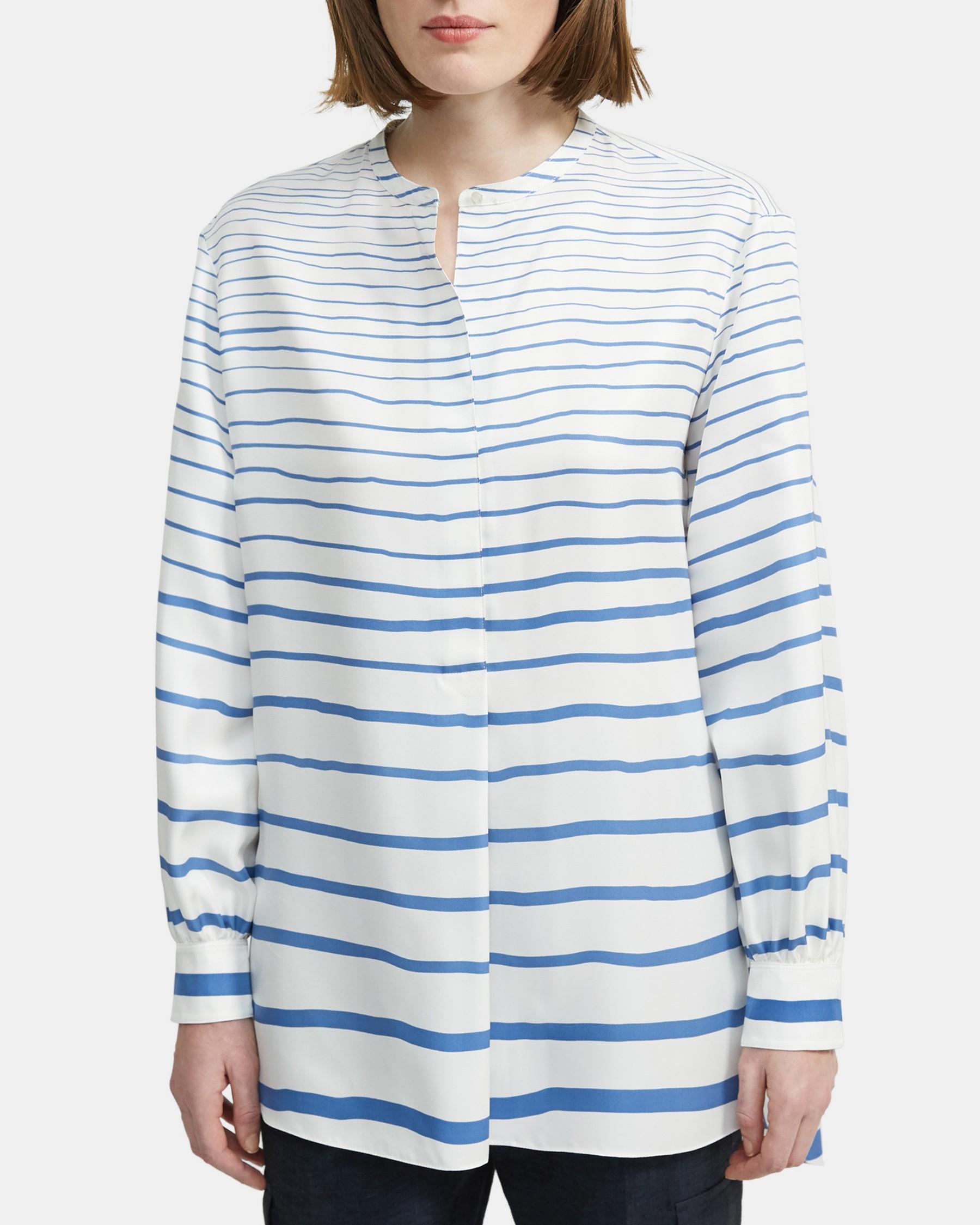 Popover Tunic in Striped Silk   Theory