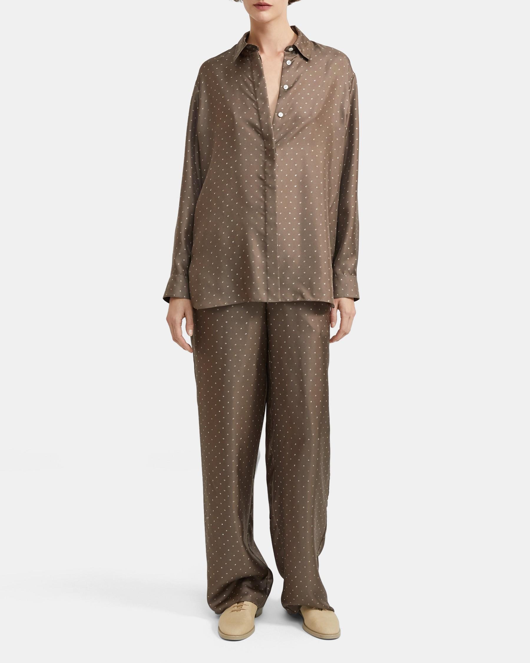Dotted Silk Menswear Shirt   Theory