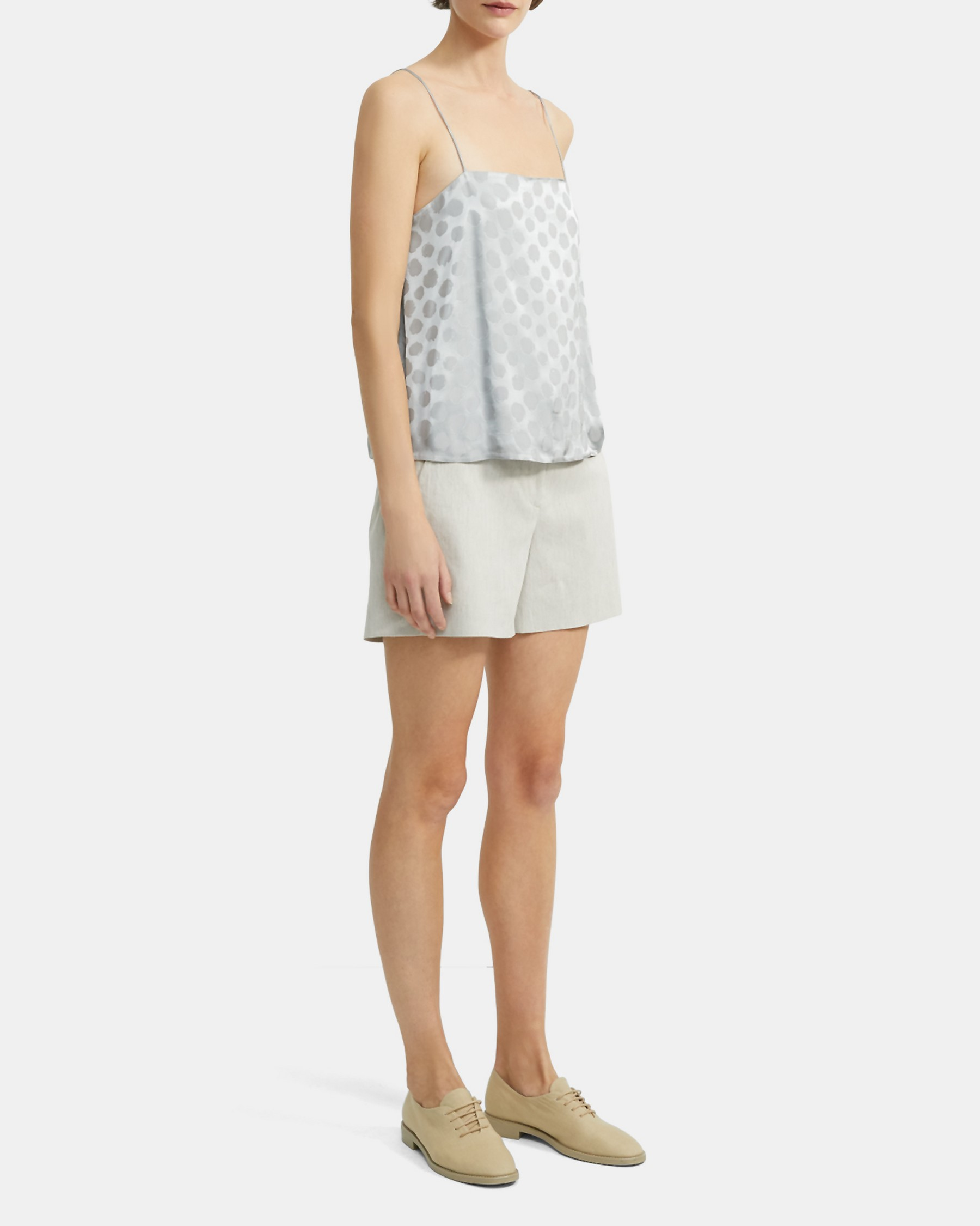 Clean Tank in Brushed Dot Jacquard   Theory