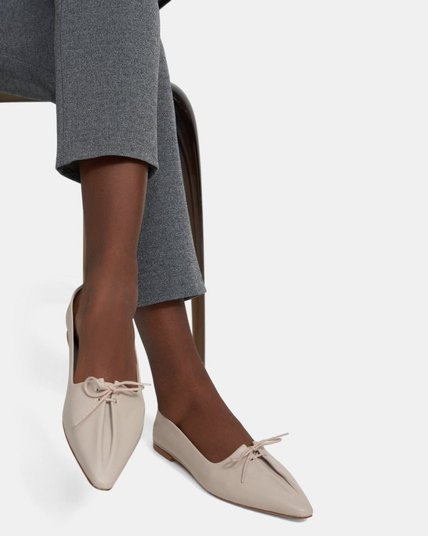 Pleated Ballet Flat in Leather