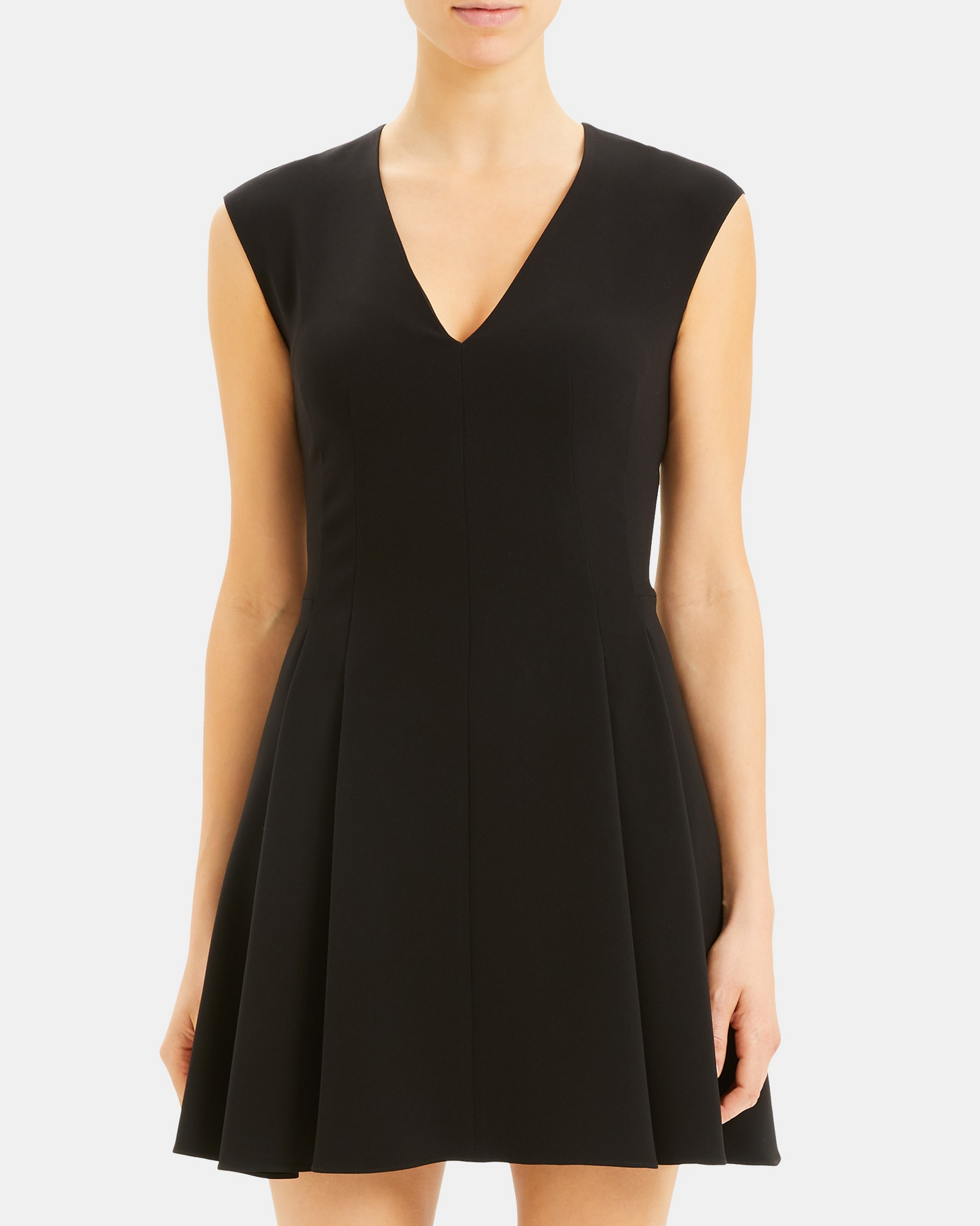 Pleated Cap Sleeve Dress in Crepe   Theory
