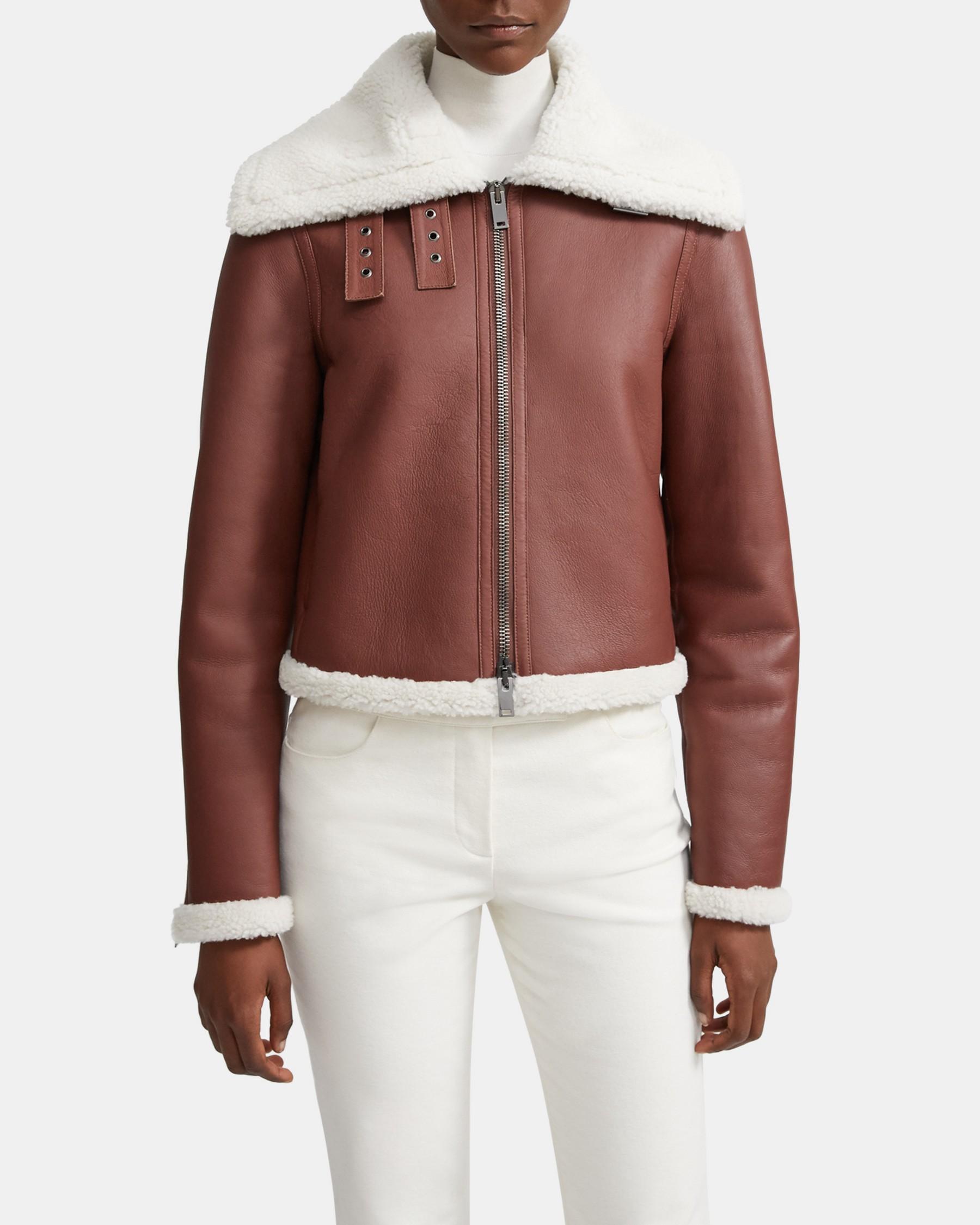 Moto Jacket in Shearling   Theory