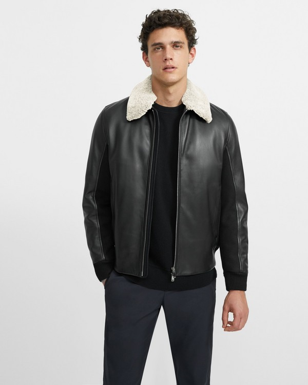 Zip Jacket in Shearling Melton
