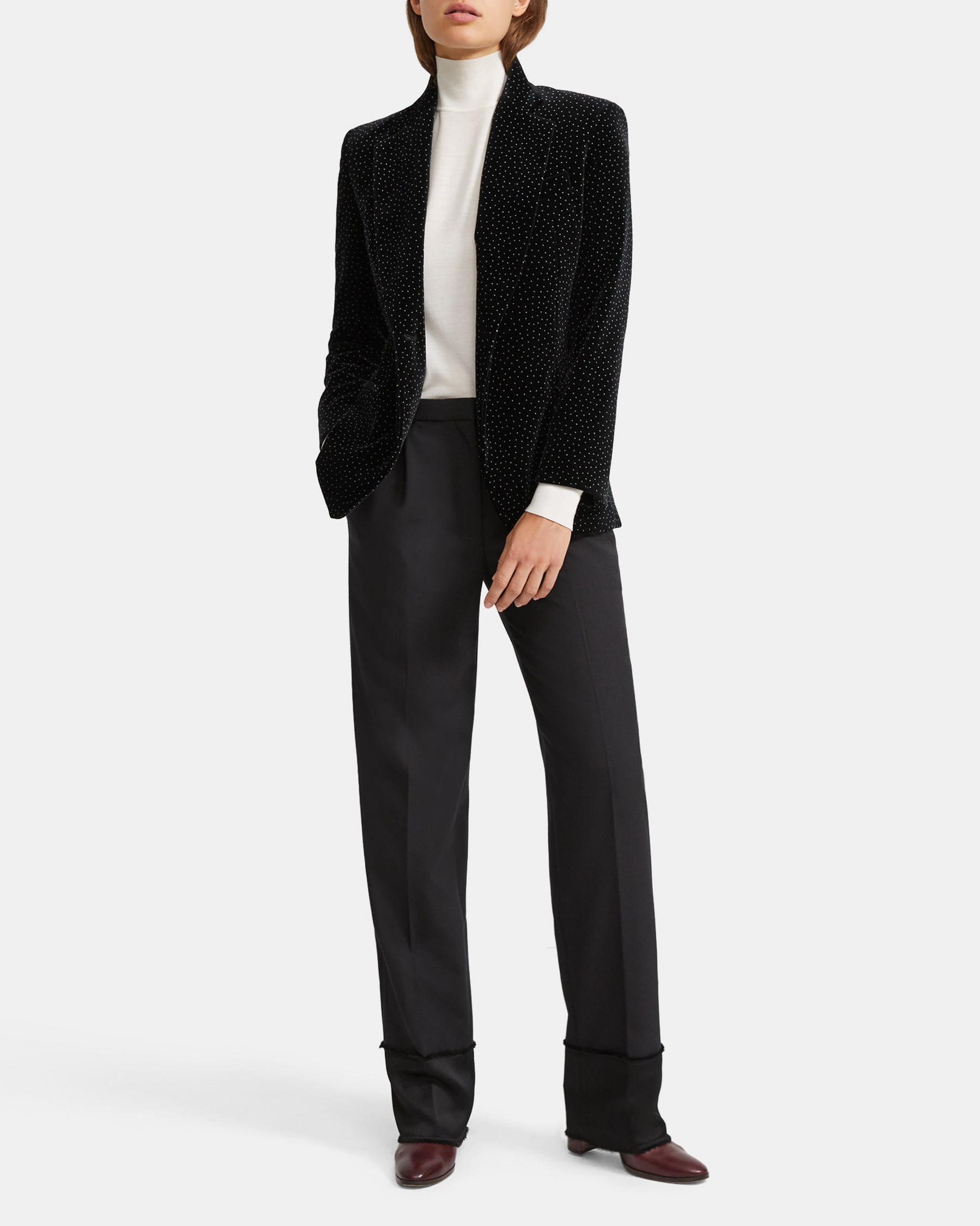 Cinched Blazer in Dotted Velvet   Theory