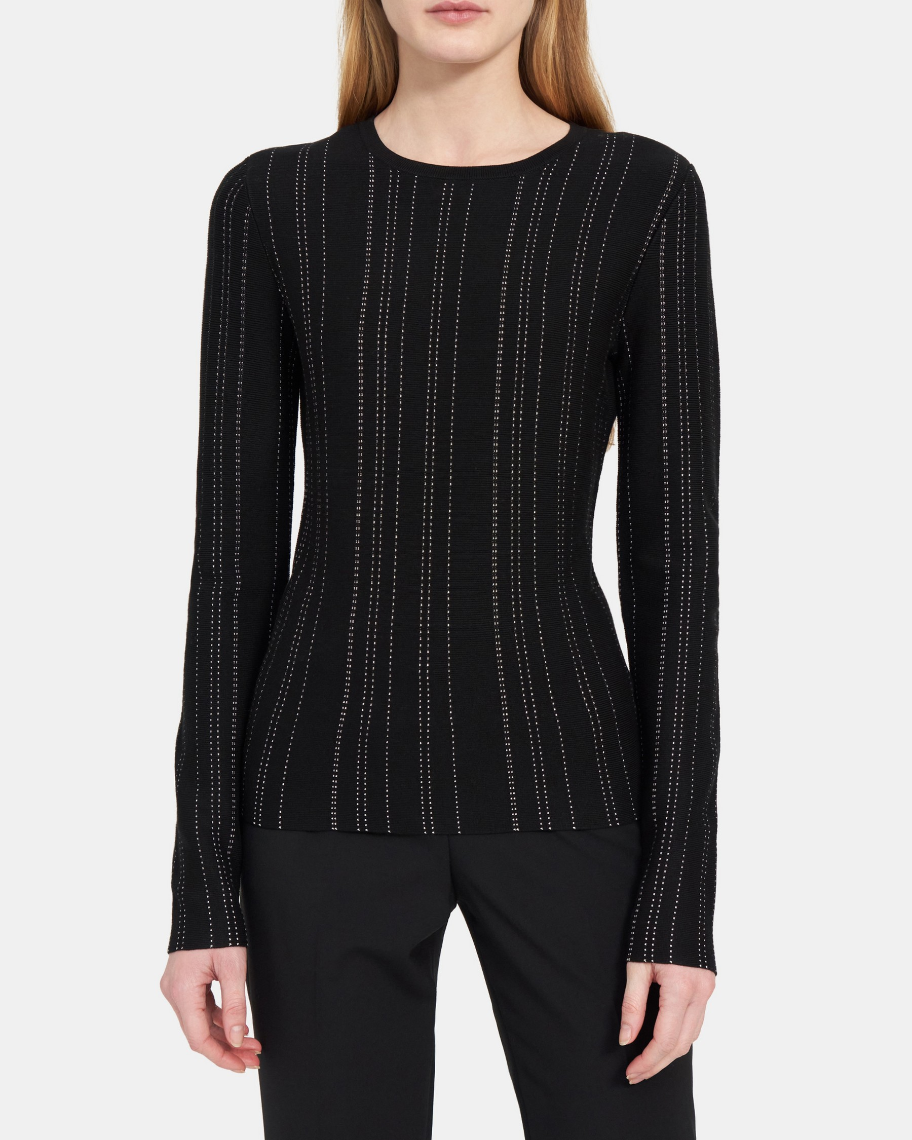 Slim Crewneck in Compact Sweater Knit   Theory