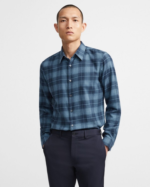 Theory Irving Shirt in Grid Cotton Flannel