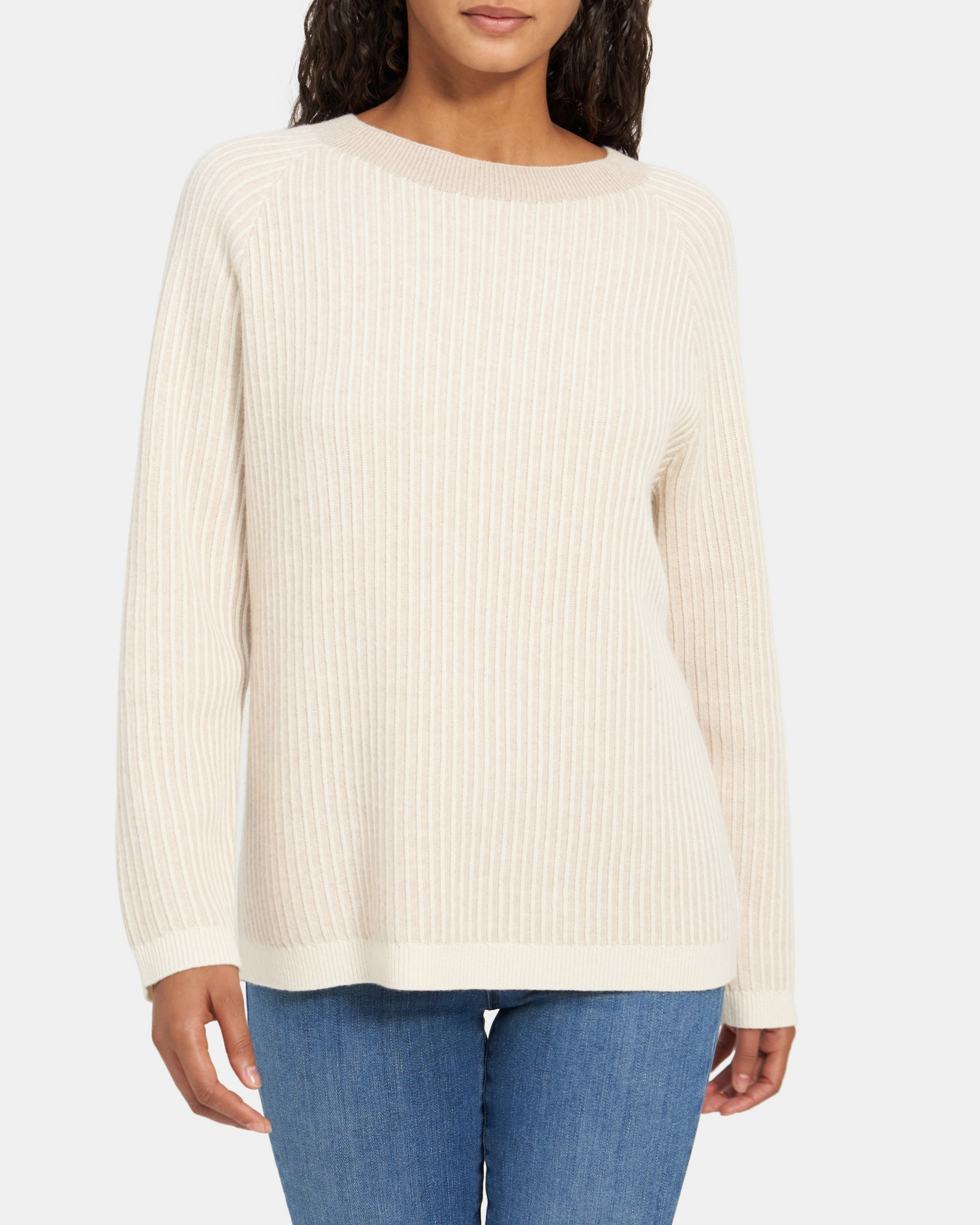Oversized Ribbed Pullover in Cashmere   Theory