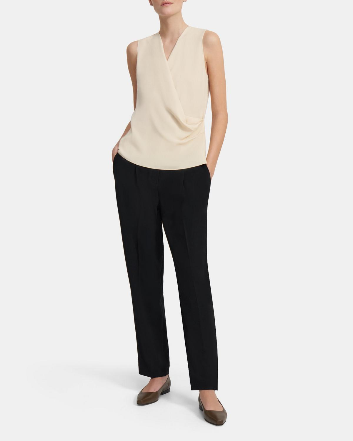 Draped Shell Top in Silk Georgette