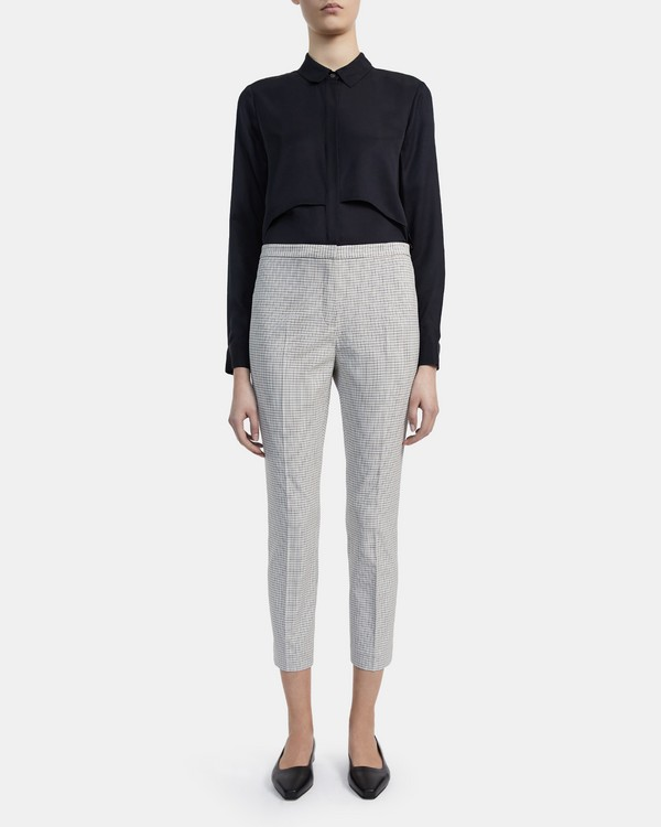 Skinny Pant in Check Stretch Viscose