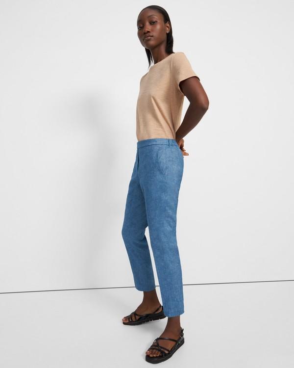 띠어리 팬츠 Theory Treeca Pull-On Pant in Textured Good Linen,DENIM