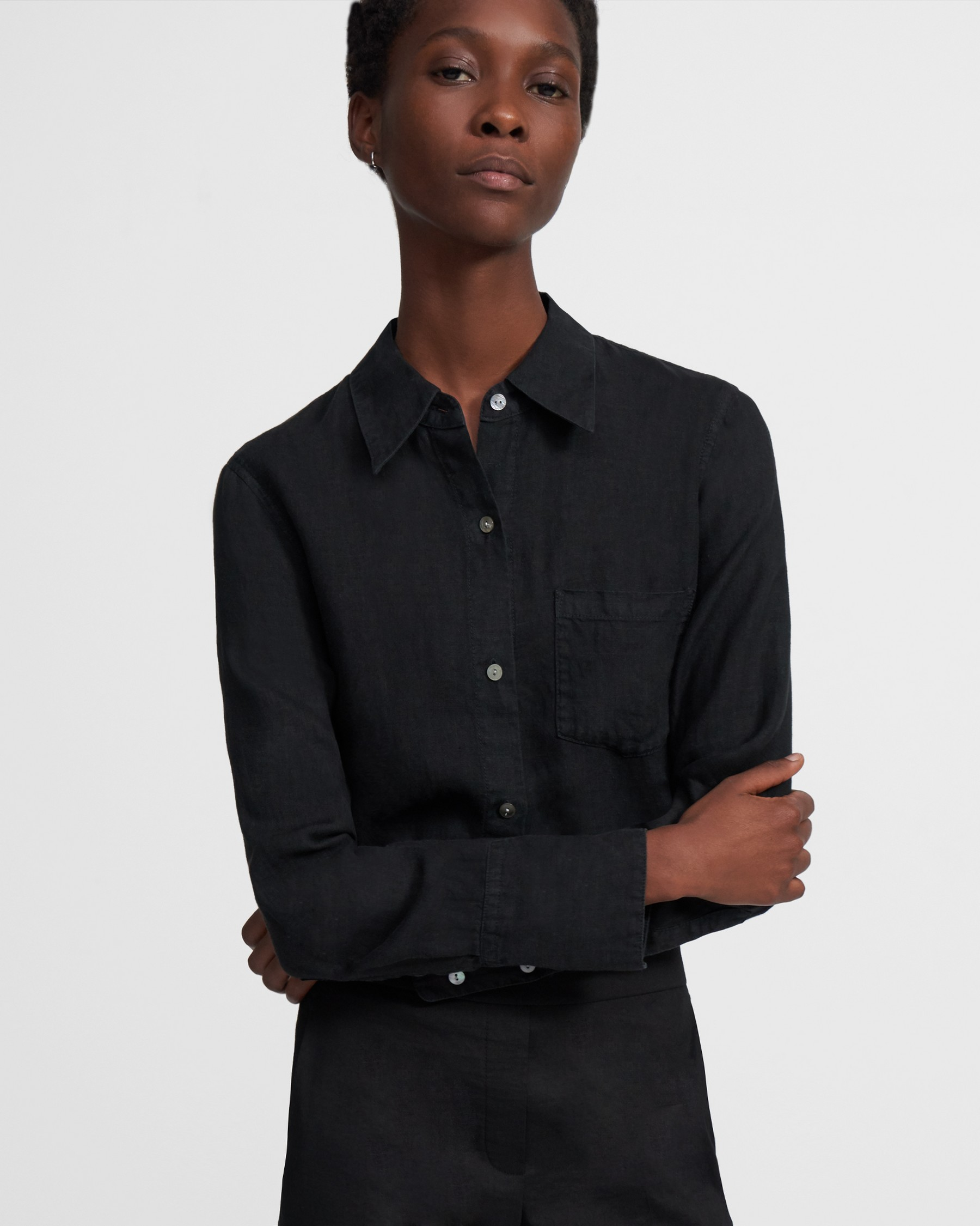 Slim Button-Down Shirt in Spring Linen   Theory