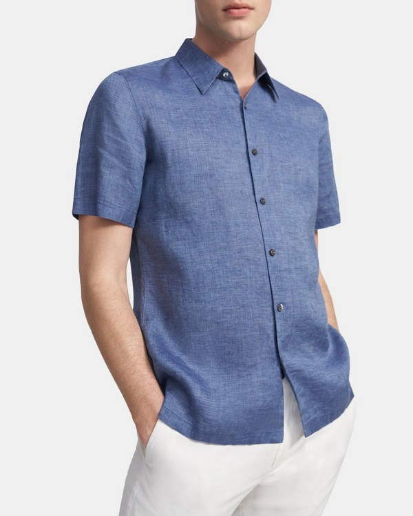 Short-Sleeve Irving Shirt in Summer Linen