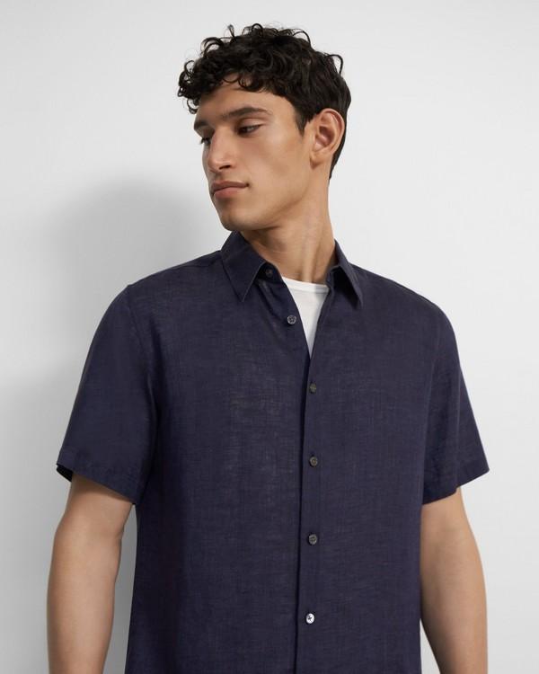 Theory Short-Sleeve Irving Shirt in Summer Linen