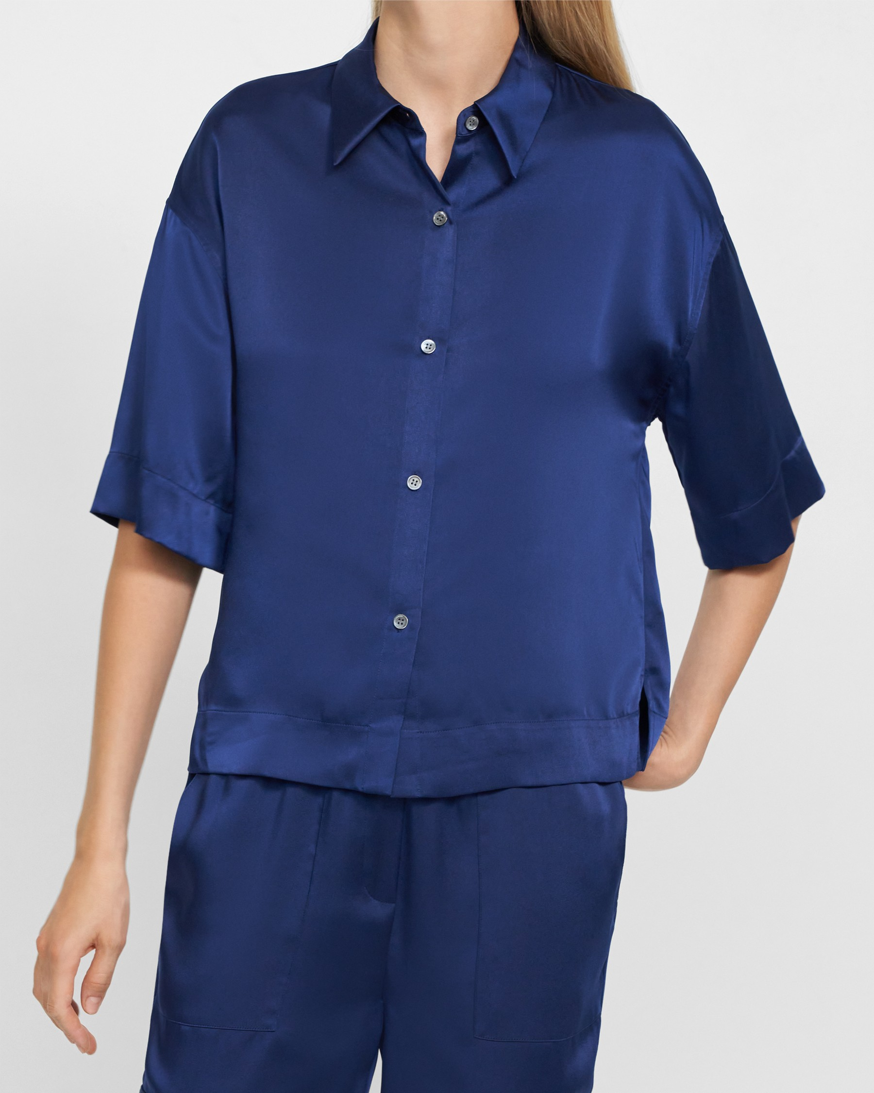 Easy Pajama Shirt in Satin   Theory