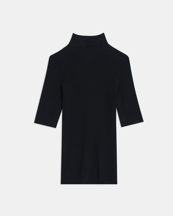 Short-Sleeve Turtleneck in Compact Crepe