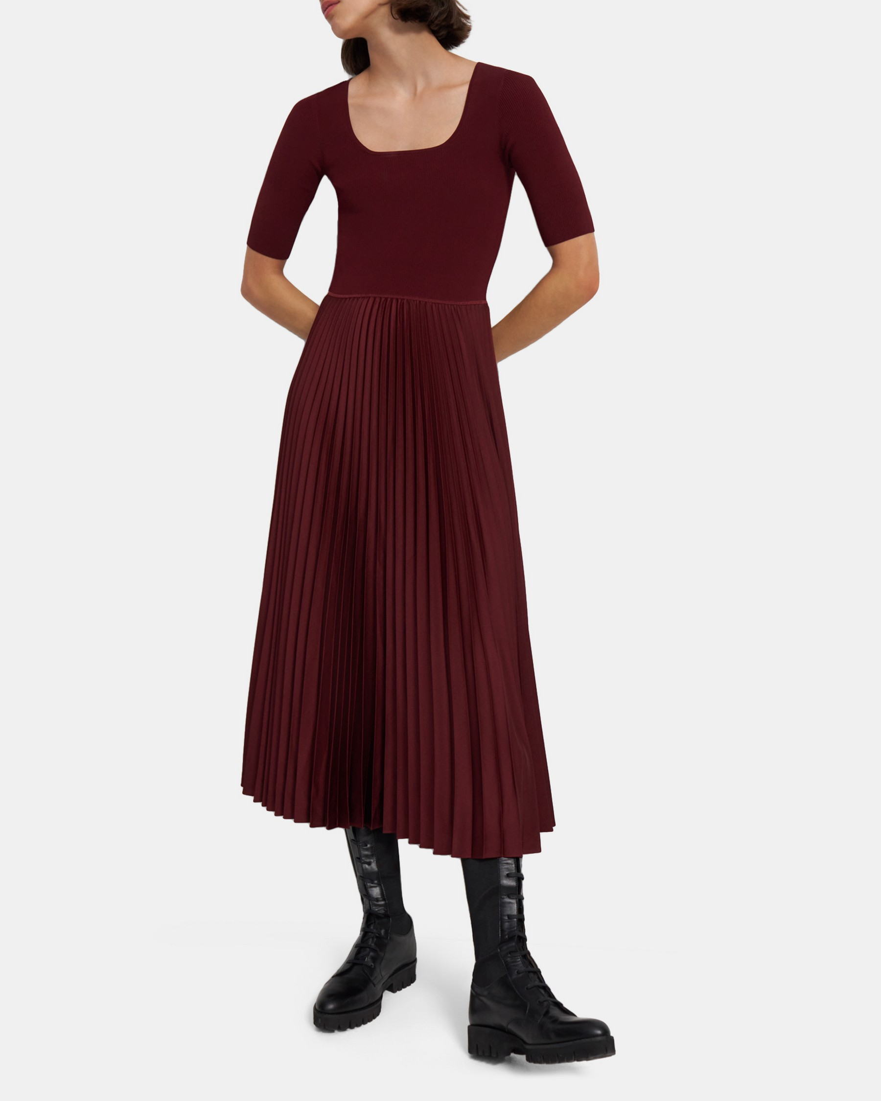 Square Neck Dress in Ribbed Crepe   Theory