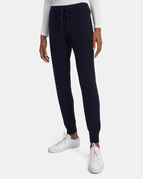 Jogger Pant in Waffle-Knit Cashmere