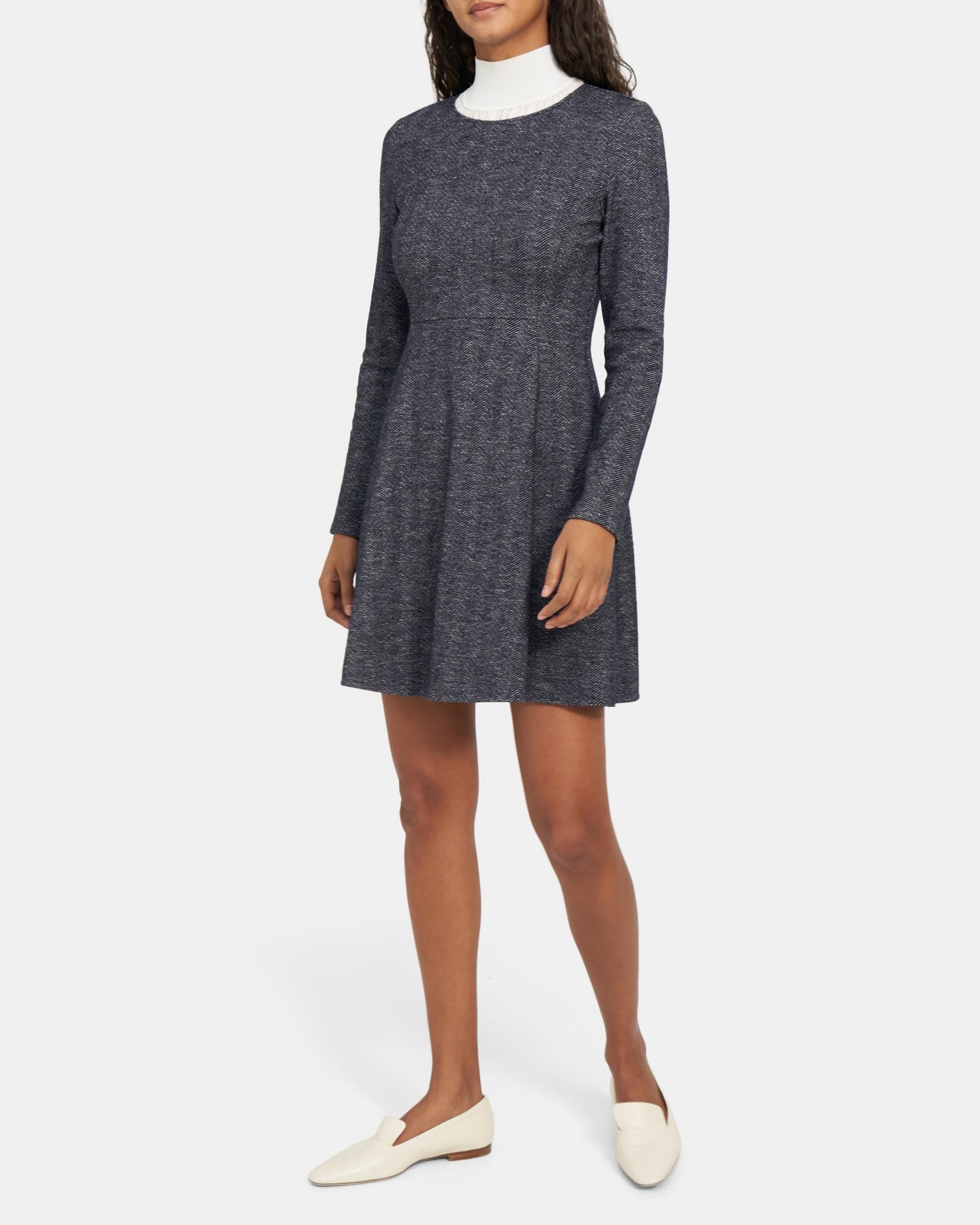 Albita Long-Sleeve Dress in Chevron Knit   Theory