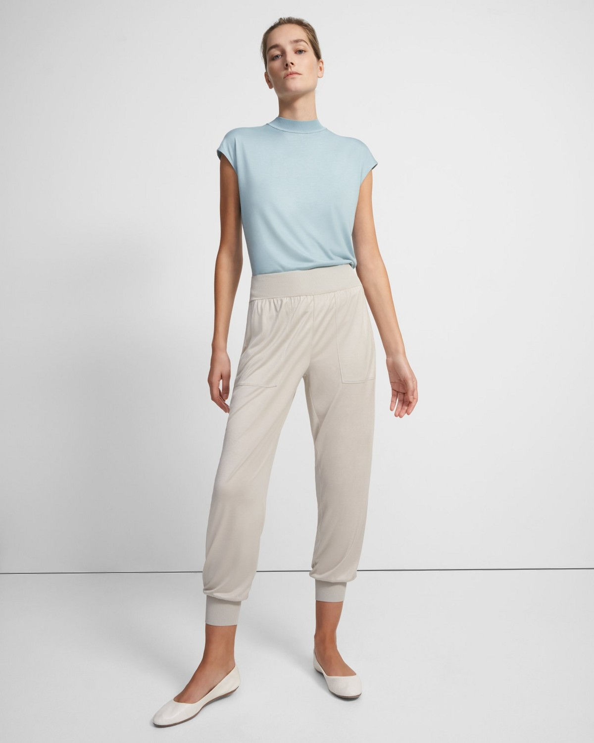 Ribbed Cuff Jogger in Silk Jersey