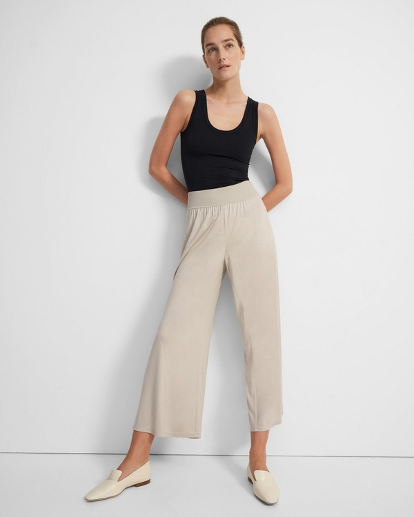 Ribbed Waist Pant in Silk Jersey