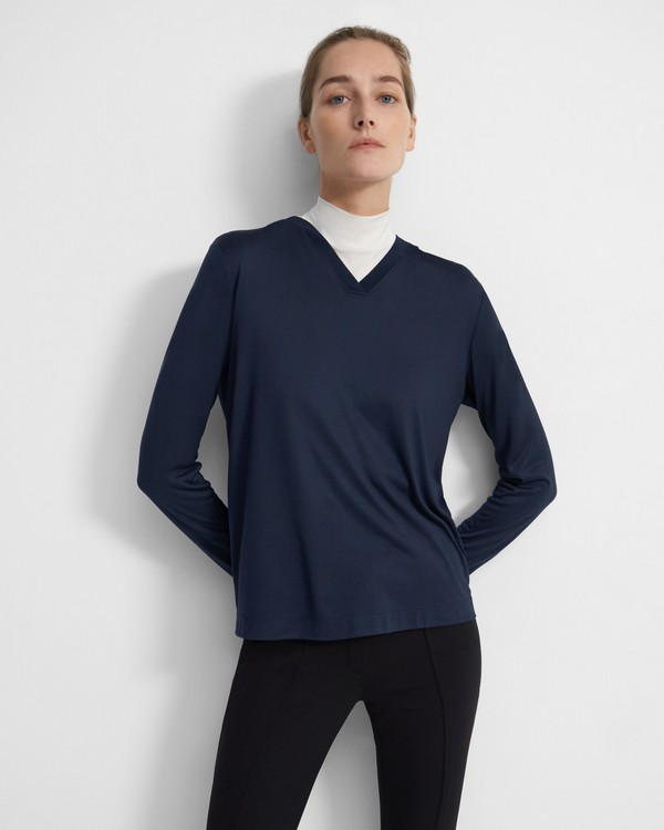 Easy Ribbed V-Neck Hoodie in Silk Jersey
