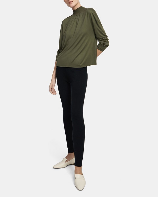 Ribbed Neck Long-Sleeve Top in Silk Jersey