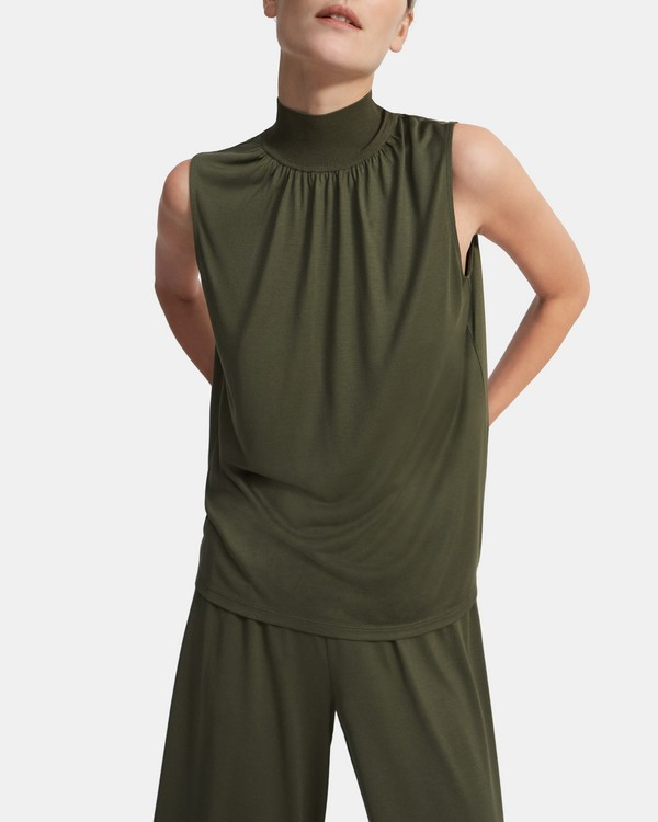 Ribbed Neck Shell Top in Silk Jersey