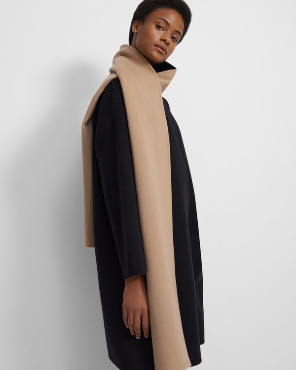 Scarf Coat in Double-Face Wool-Cashmere
