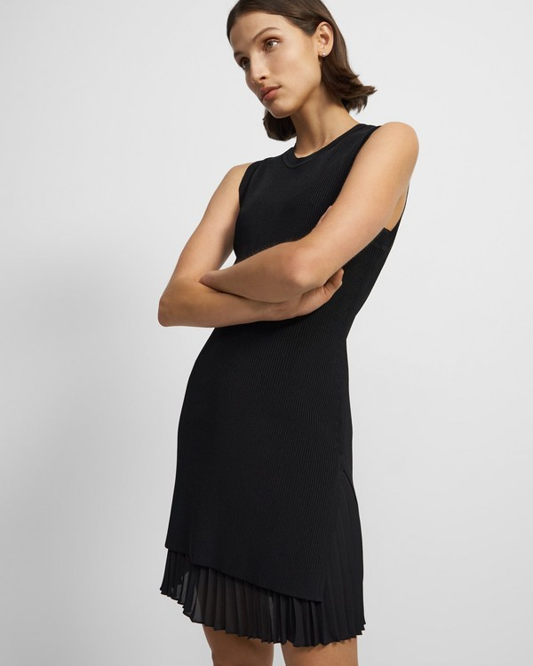 Pleated Sleeveless Combo Dress in Ribbed Knit