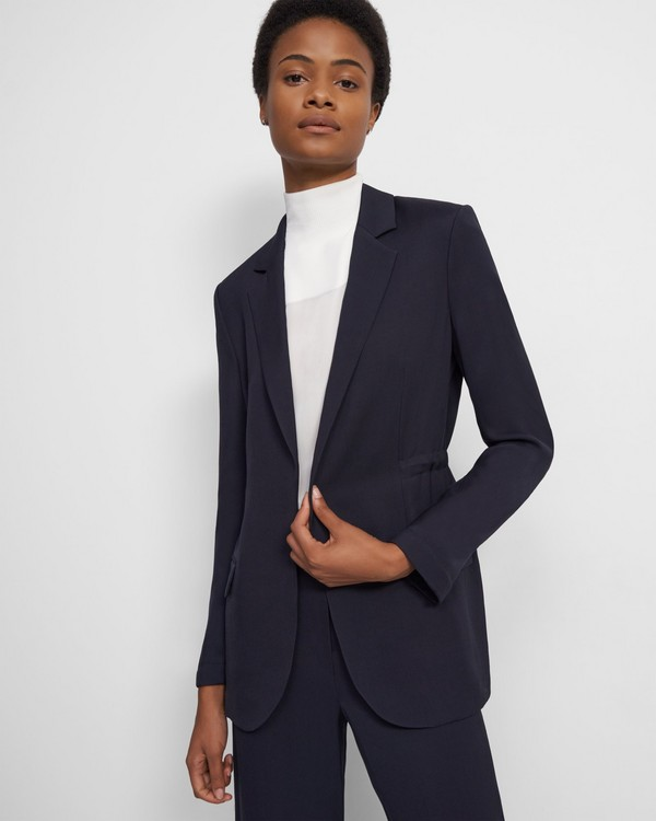 Draped Jacket in Liquid Twill