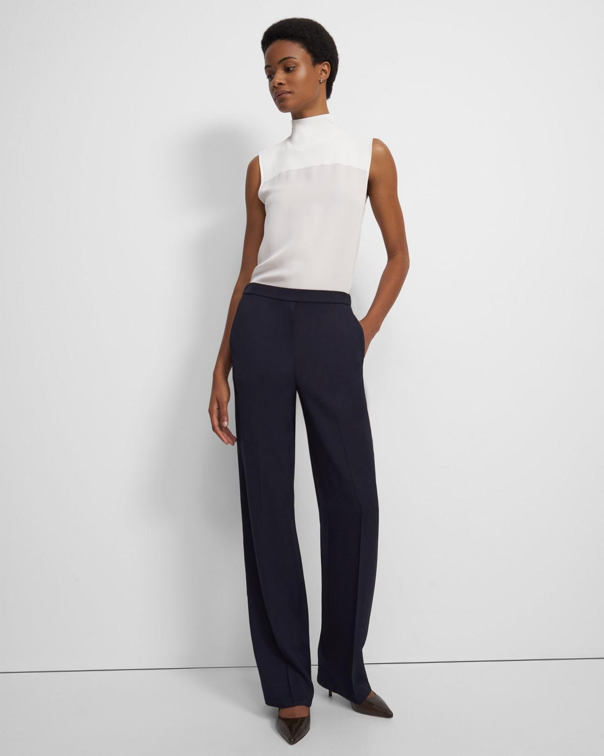 Wide Leg Pull-On Pant in Liquid Twill