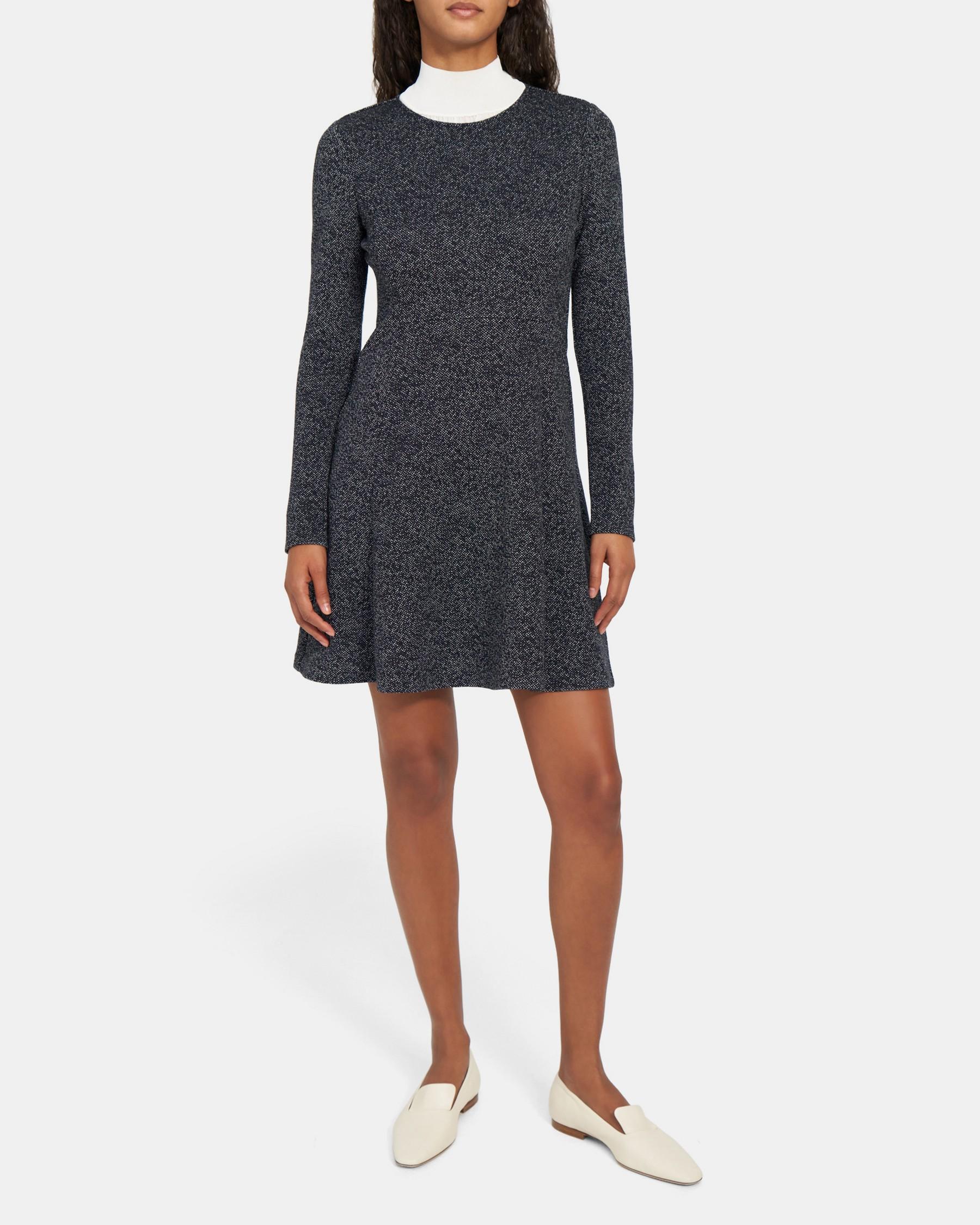 Albita Long-Sleeve Dress in Stretch Knit   Theory