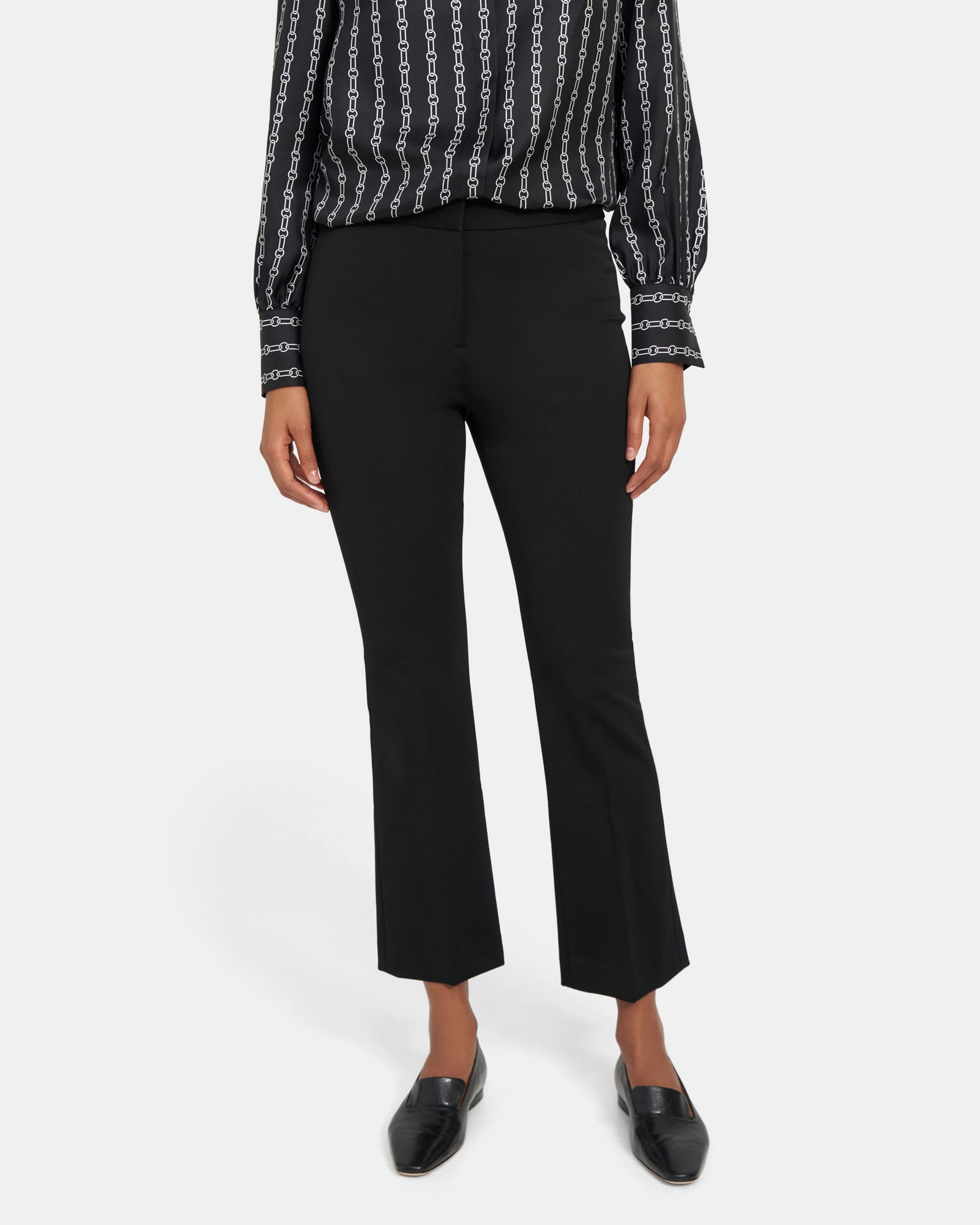 Flared Crop Pant in Stretch Knit   Theory