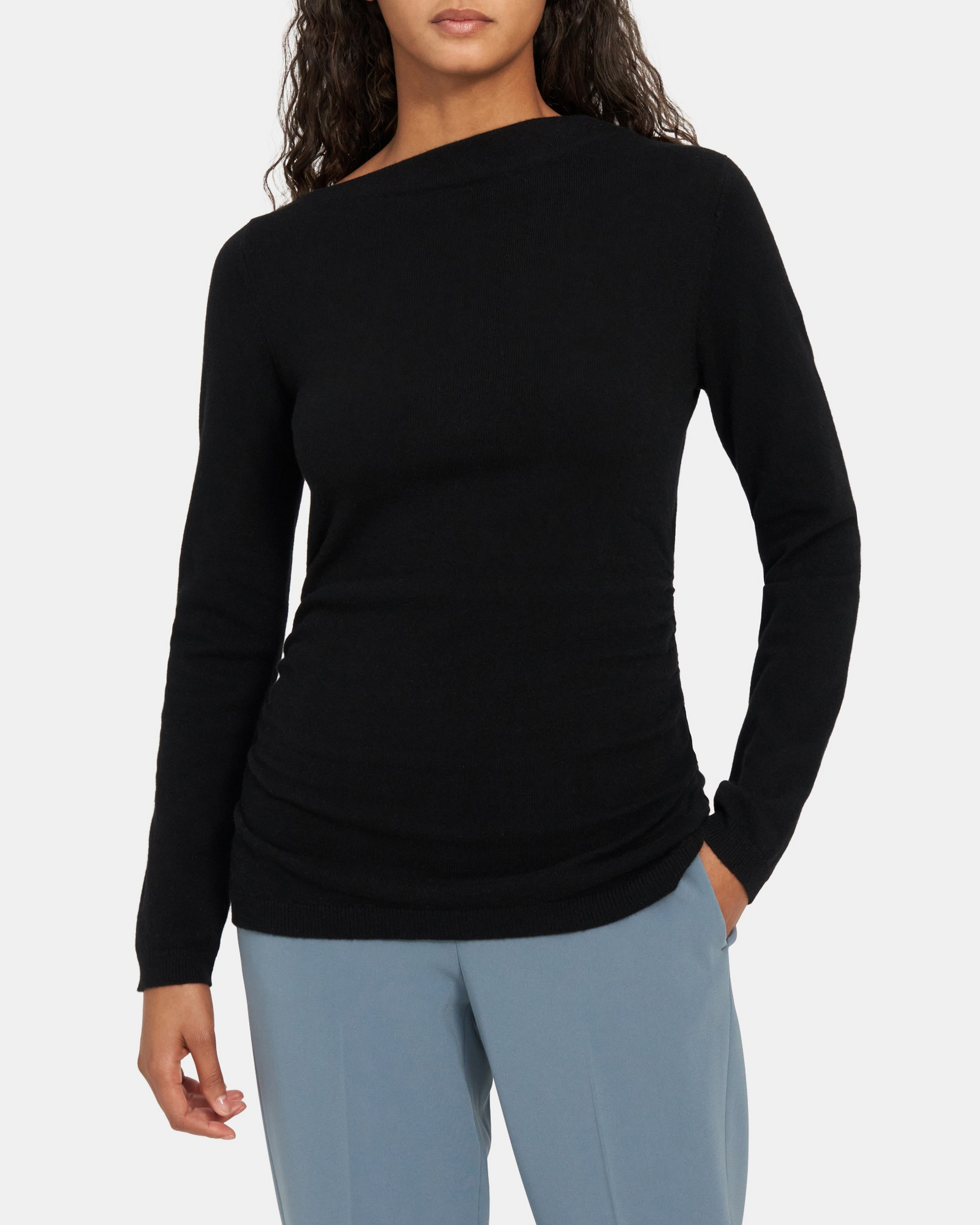 Draped Neck Pullover in Cashmere   Theory