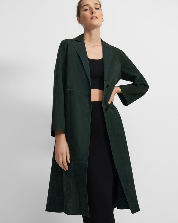 Clean A-Line Coat in Suede