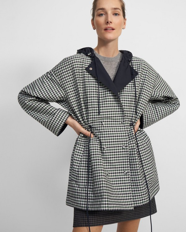 Cinched Anorak in Reversible Check