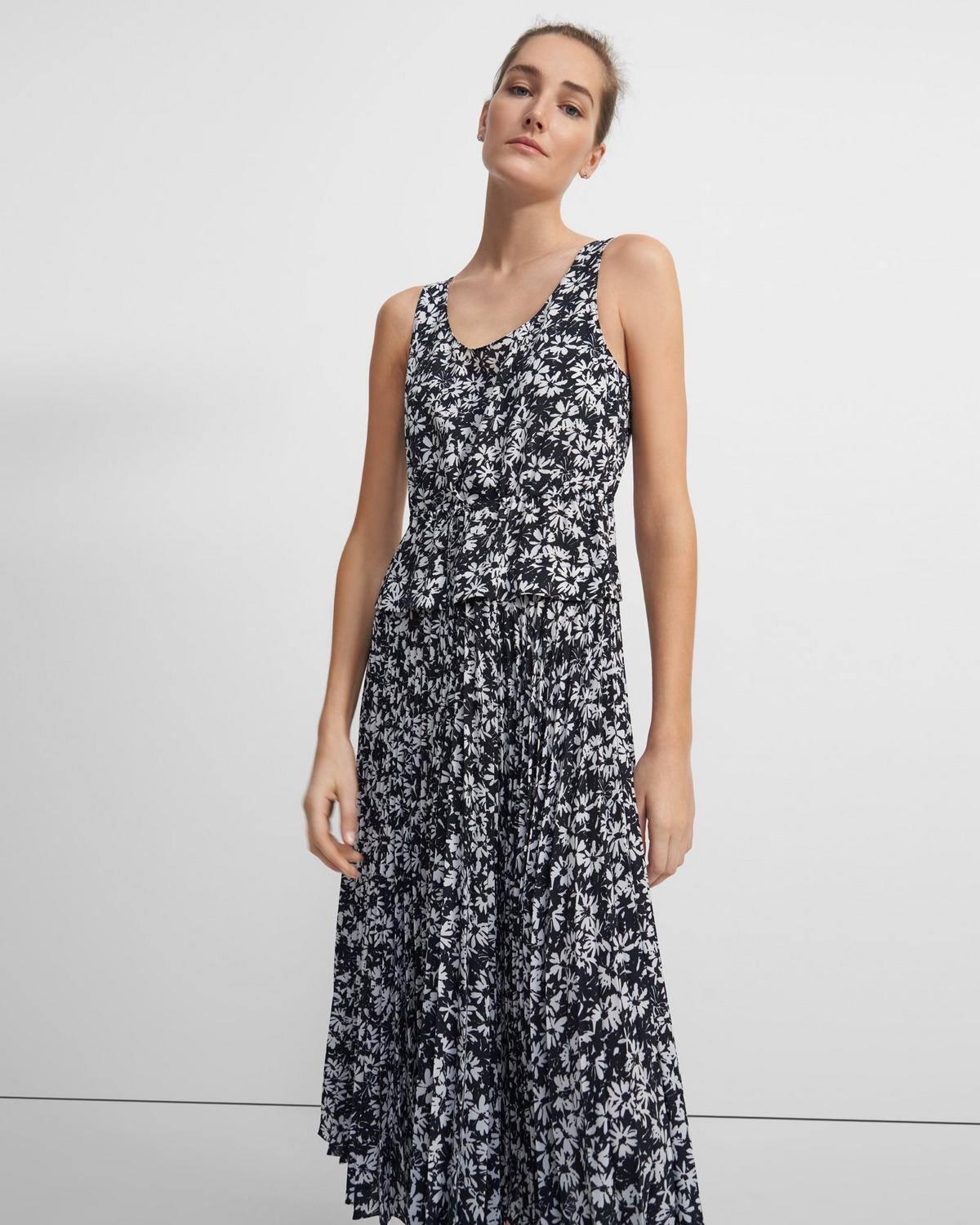 Pleated Dress in Daisy Print Crepe