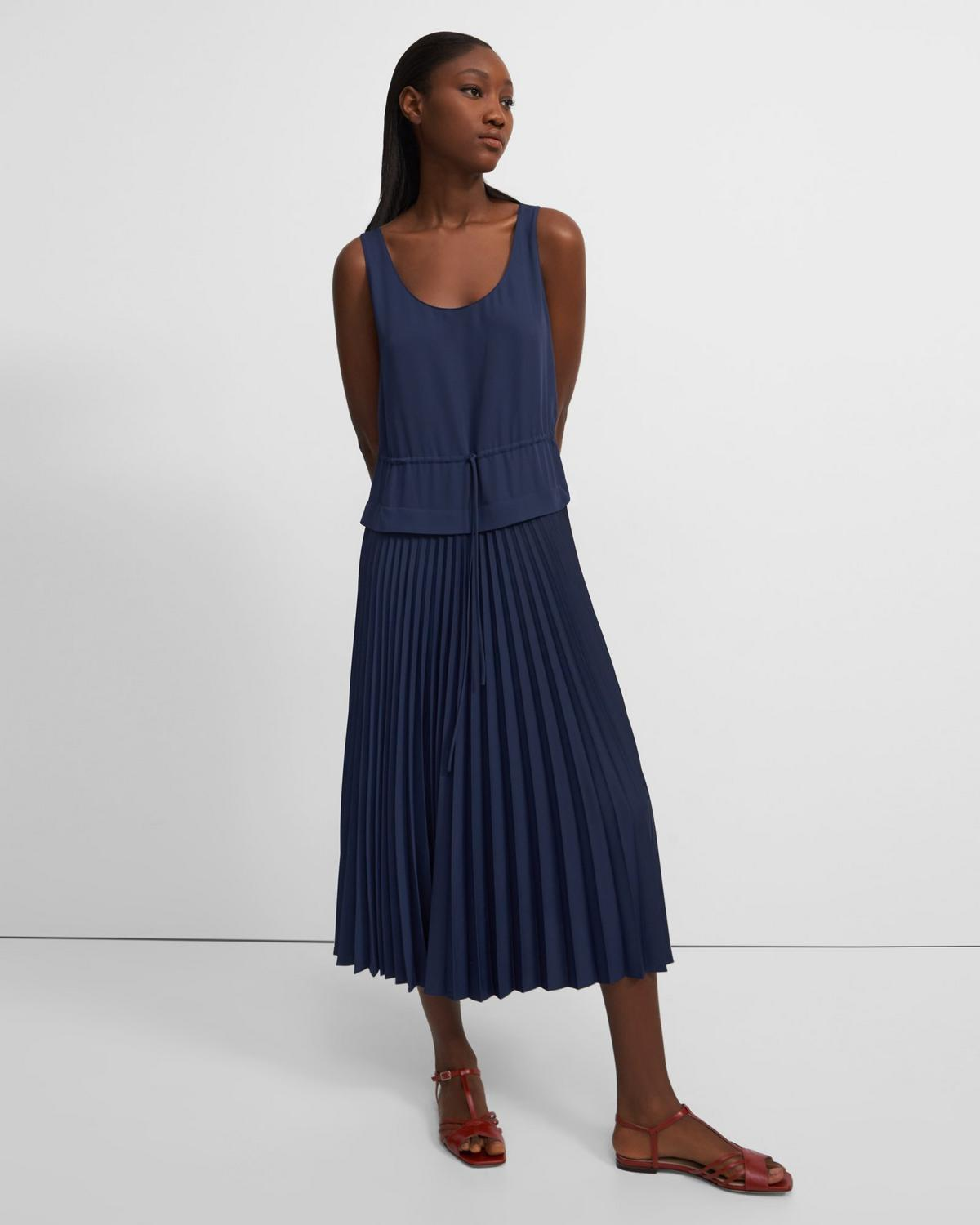 Pleated Dress in Satin Crepe