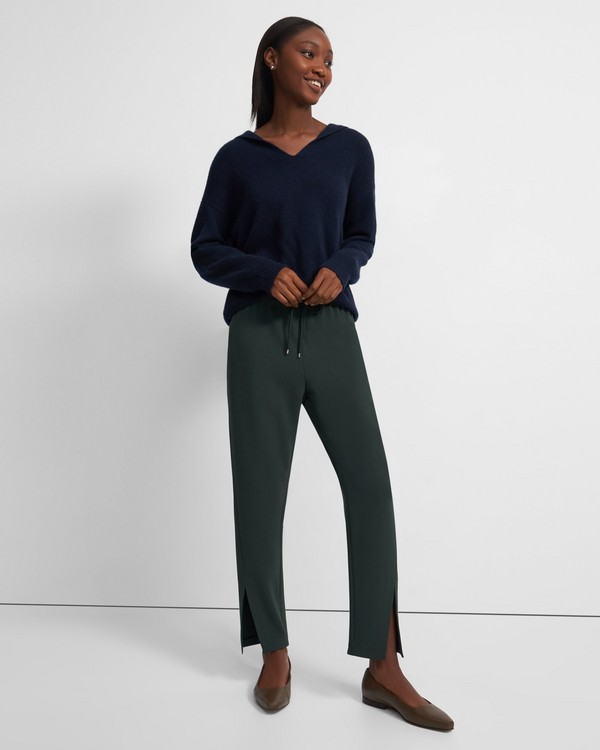Slit Pull-On Pant in Crepe