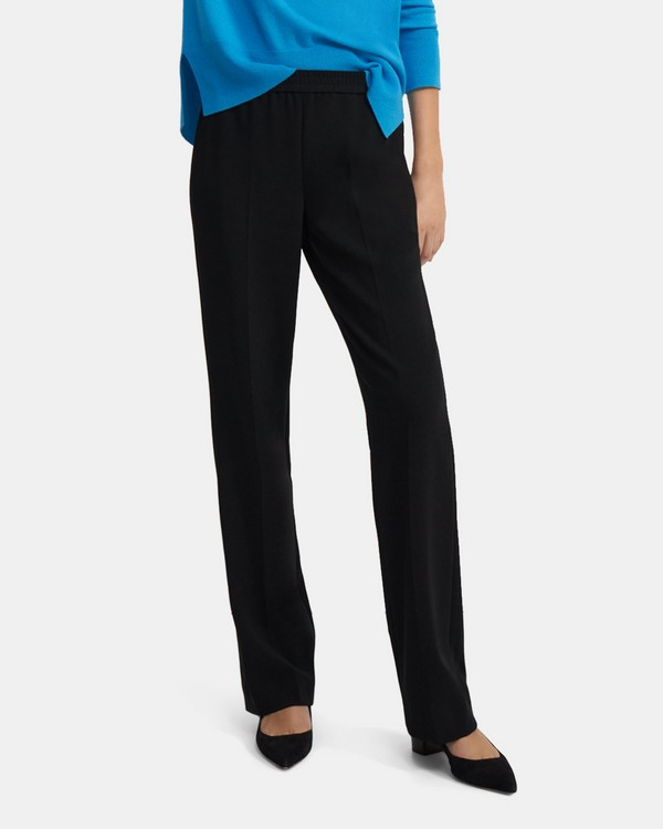 Straight Pull-On Pant in Crepe