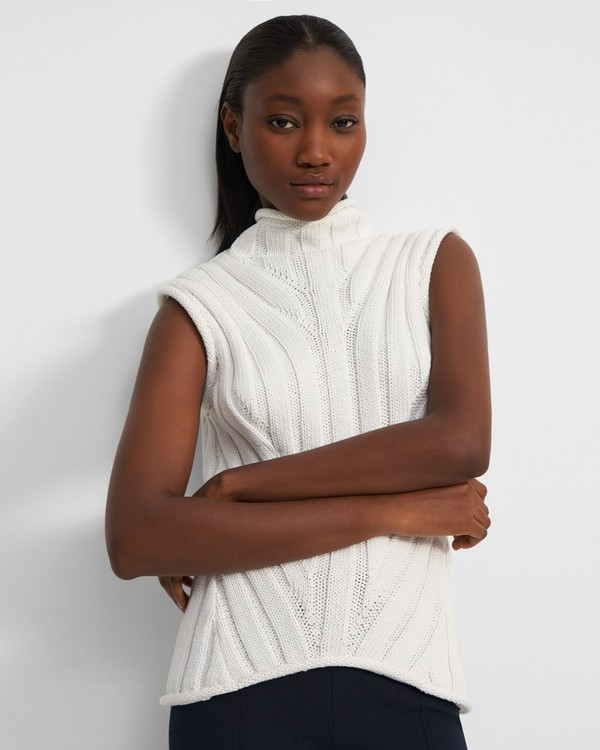 Moving Rib Shell Sweater in Looped Cotton
