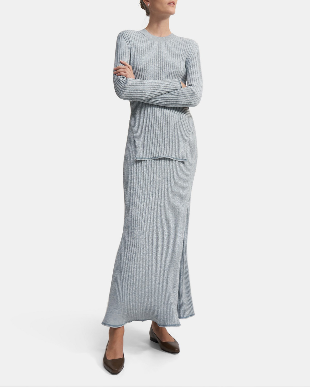 Ribbed Skirt in Compact Knit