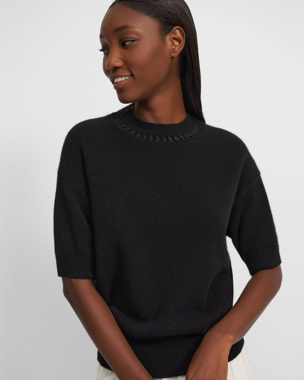Mixed Trim Pullover in Cashmere